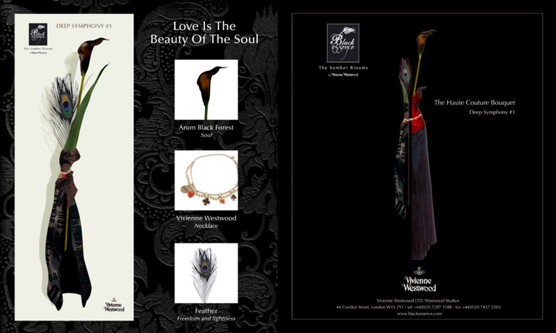 "Masters degree project created for Vivienne Westwood. ""Black Essence, The Somber Blooms"" a serie of haute-couture bouquets."