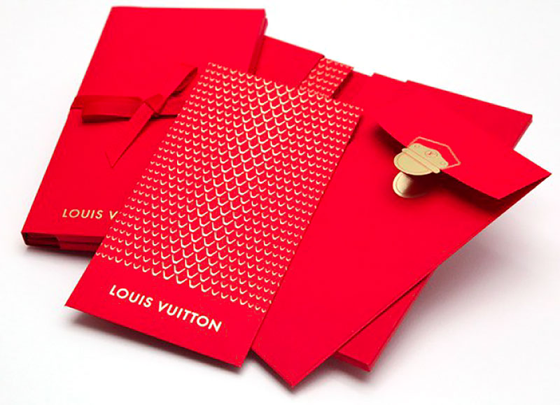Invitation card for Louis Vuitton, gold foil printing, laser cut envelope, customised case and ribbon